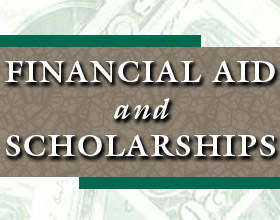 Financial aid and scholarships written over green and beige graphic with background of US dollars.