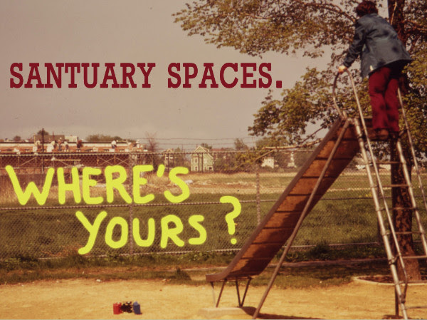 "An aged photo of a playground showing a child stepping up to the top of a slide looking out over a field with a barbwire-lined chain link fence in front of it.  The text ""Sanctuary Spaces. Where's yours?"" is written in the foreground."