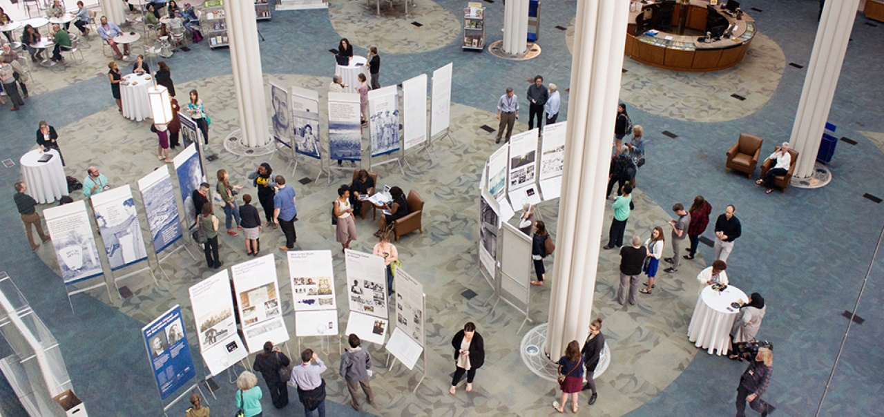 "Aerial photo of ""States of Incarceration"" exhibit at the Indianapolis Public library"