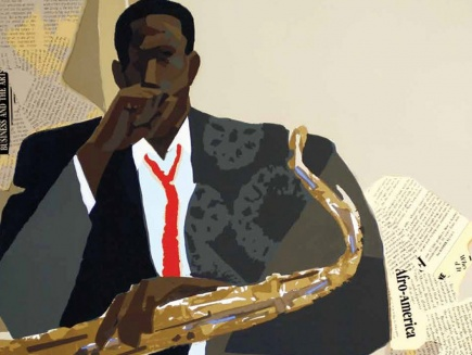 Illustration of musician with saxophone