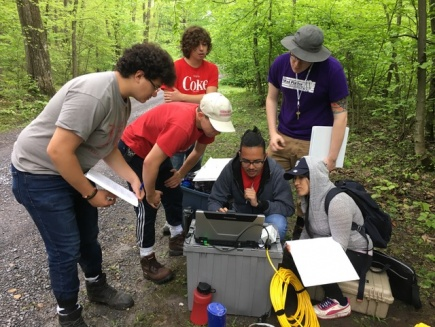 GeoPaths mentor and students study out in the field
